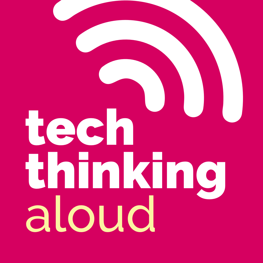 tech thinking aloud in white text with sound waves extending outward from the 'h' in tech, on a pink background